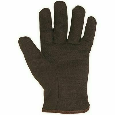 CUSTOM LEATHERCRAFT LARGE FLEECE LINED BROWN JERSEY GLOVES (1-PAIR)