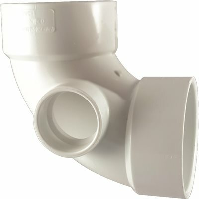 NIBCO 3 IN. X 3 IN. X 2 IN. PVC DWV 90 DEGREE HUB X HUB X HUB ELBOW WITH SIDE INLET
