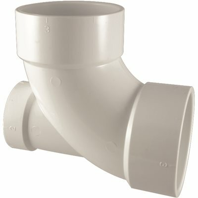 NIBCO 3 IN. X 3 IN. X 2 IN. PVC DWV 90 DEGREE HUB X HUB X HUB ELBOW WITH LOW-HEEL INLET