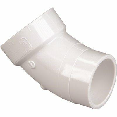 NIBCO 2 IN. PVC DWV 45-DEGREE SPIGOT X HUB STREET ELBOW FITTING