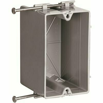 LEGRAND PASS & SEYMOUR SLATER NEW WORK PLASTIC 1 GANG 18 CU. IN STEEL STUD BRACKET BOX WITH THREADED MOUNTING HOLES