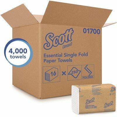 SCOTT SINGLE FOLD PAPER TOWELS AFFORDABLE TOWEL PAPER, WHITE (250 TOWELS/CLIP, 16 CLIPS/CASE)