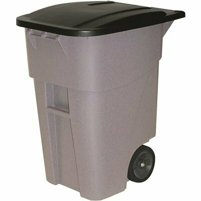 RUBBERMAID COMMERCIAL PRODUCTS BRUTE 50 GAL. GRAY ROLLOUT TRASH CAN WITH LID