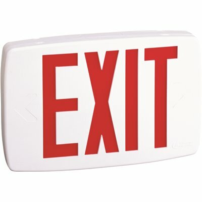 LITHONIA LIGHTING CONTRACTOR SELECT LQM SERIES 120/277-VOLT INTEGRATED LED WHITE AND RED EXIT SIGN