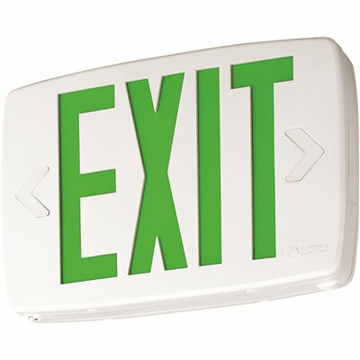 LITHONIA LIGHTING CONTRACTOR SELECT LQM SERIES 120/277-VOLT INTEGRATED LED WHITE AND GREEN EXIT SIGN