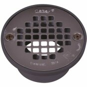 OATEY ROUND GRAY PVC SHOWER DRAIN WITH 4 IN. ROUND SCREW-IN STAINLESS STEEL DRAIN COVER