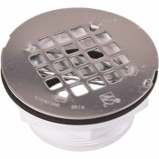 OATEY ROUND NO-CAULK WHITE PVC SHOWER DRAIN WITH 4-1/4 IN. ROUND SNAP-IN STAINLESS STEEL DRAIN COVER - OATEY PART #: 420992