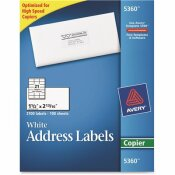 AVERY 1-1/2 IN. X 2-13/16 IN. WHITE SELF-ADHESIVE ADDRESS LABELS FOR COPIERS (2100 PER BOX)