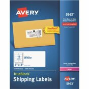 AVERY 2 IN. X 4 IN. WHITE SHIPPING LABELS WITH TRUEBLOCK TECHNOLOGY (2500 PER BOX)