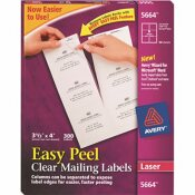 AVERY DENNISON AVERY EASY PEEL LASER MAILING LABELS, 3-1/3 X 4, CLEAR, 300/BOX