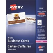 AVERY 2 IN. X 3-1/2 IN. WHITE LASER BUSINESS CARDS (10 CARDS/SHEET, 2500/BOX)