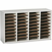 SAFCO PRODUCTS WOOD/LAMINATE LITERATURE SORTER, 36 SECTIONS, 39 3/8 X 11 3/4 X 24, GRAY