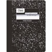 MEAD 9-3/4 IN. X 7-1/2 IN. WIRELESS COMPOSITION BOOK, WIDE/MARGIN RULE WHITE (100 SHEETS)