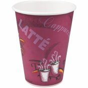 SOLO 12 OZ. MAROON BISTRO DESIGN POLYLINED PAPER HOT DRINK CUPS (50 PER BAG)