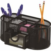 ROLODEX 9-1/3 IN. X 4-1/2 IN. X 4 IN. MESH PENCIL CUP ORGANIZER 4-COMPARTMENTS STEEL, BLACK