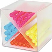 DEFLECTO CORPORATION DESK CUBE WITH X DIVIDERS, CLEAR PLASTIC, 6 X 6 X 6