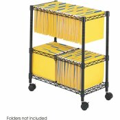 SAFCO 25-3/4 IN. W X 14 IN. D X 29-3/4 IN. H 2-TIER METAL ROLLING FILE CART IN BLACK
