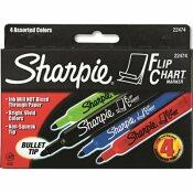 SANFORD FLIP CHART MARKERS, BULLET TIP, FOUR COLORS, 4/SET