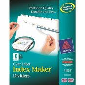 AVERY DENNISON AVERY INDEX MAKER CLEAR LABEL DIVIDERS, 8-TAB, LETTER, WHITE, 5 SETS