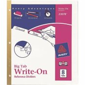 AVERY BIG TAB WRITE-ON DIVIDERS WITH ERASABLE LAMINATED TABS, WHITE (SET OF 8)