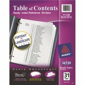 AVERY DENNISON AVERY READY INDEX CLASSIC TAB TITLES, 31-TAB, 1-31, LETTER, BLACK/WHITE, 31/SET