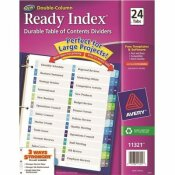AVERY READY INDEX 2-COLUMN TABLE OF CONTENTS DIVIDER, TITLE: 1-24, MULTI, LETTER