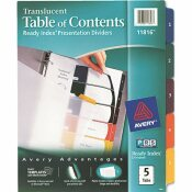 AVERY DENNISON AVERY READY INDEX TABLE/CONTENTS DIVIDERS, 5-TAB, LETTER, ASSORTED, 5/SET