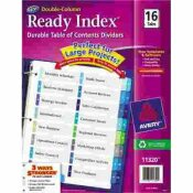 AVERY DENNISON AVERY READY INDEX TWO-COLUMN TABLE OF CONTENTS DIVIDER, TITLE: 1-16, MULTI, LETTER