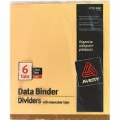 AVERY DENNISON AVERY GOLD LINE DATA BINDER INSERTABLE TAB INDEX, 6-TAB, 9-1/2 X 11, BUFF, 6/SET
