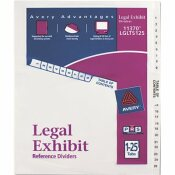AVERY DENNISON AVERY AVERY-STYLE LEGAL SIDE TAB DIVIDER, TITLE: 1-25, LETTER, WHITE, 1 SET