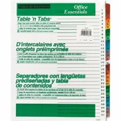 AVERY DENNISON AVERY OFFICE ESSENTIALS TABLE 'N TABS DIVIDERS, 31 MULTICOLOR TABS, 1-31, LETTER, SET