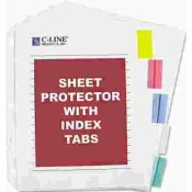 C-LINE PRODUCTS, INC SHEET PROTECTORS W/5 COLORED INDEX TABS & INSERTS, HEAVY GAUGE, LETTER