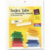 AVERY DENNISON AVERY SELF-ADHESIVE TABS WITH WHITE PRINTABLE INSERTS, 1 INCH, ASSORTED TAB, 25/PACK