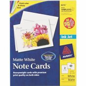 AVERY DENNISON AVERY PRINTER-COMPATIBLE CARDS, 4-1/4 X 5-1/2, TWO PER SHEET, 60/BOX WITH ENVELOPES