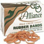 ALLIANCE RUBBER PALE CREPE GOLD RUBBER BANDS, SIZE 64, 3-1/2 X 1/4, 1LB BOX