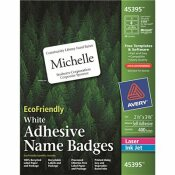 AVERY DENNISON AVERY ECOFRIENDLY NAME BADGE LABELS, 2-1/3 X 3-3/8, WHITE, 400/BOX