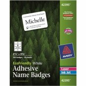 AVERY DENNISON AVERY ECOFRIENDLY NAME BADGE LABELS, 2-1/3 X 3-3/8, WHITE, 160/BOX