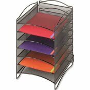 SAFCO PRODUCTS ONYX STEEL MESH LLITERATURE SORTER, SIX COMPARTMENTS, BLACK