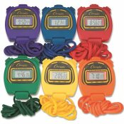 CHAMPION SPORT 1/100-SECOND WATER-RESISTANT STOPWATCHES ASSORTED COLORS (6-SET)