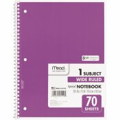 MEAD 8 IN. X 10-1/2 IN. W RULE SPIRAL BOUND NOTEBOOK, WHITE (70-SHEETS/PAD)