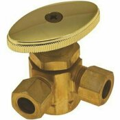 DURAPRO 5/8 IN. COMP X 3/8 IN. OD X 1/4 IN. OD LEAD FREE 3-WAY DUAL ANGLE STOP VALVE, ROUGH BRASS