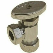 DURAPRO WEST COAST ANGLE STOP, 5/8 IN. OD COMP X 1/2 IN. AND 7/16 IN. SLIP JOINT, CHROME, LEAD-FREE