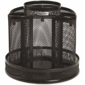 ROLODEX WORKSPACE WIRE MESH SPINNING SUPPLY CADDY BLACK