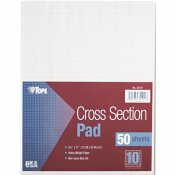TOPS BUSINESS FORMS SECTION PADS WITH 10 SQUARES, QUADRILLE RULE, LTR, WHITE, 50 SHEETS PER PAD