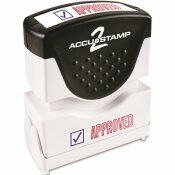 CONSOLIDATED STAMP ACCUSTAMP2 SHUTTER STAMP WITH MICROBAN, RED/BLUE, APPROVED, 1-5/8 IN. X 1/2 IN.