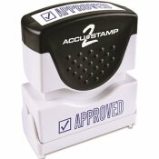 CONSOLIDATED STAMP ACCUSTAMP2 SHUTTER STAMP WITH MICROBAN, BLUE, APPROVED, 1-5/8 IN. X 1/2 IN.