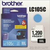 BROTHER INTL. CORP. LC105C, LC-105C, INNOBELLA SUPER HIGH-YIELD INK, 1200 PAGE-YIELD, CYAN