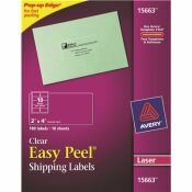 AVERY DENNISON AVERY EASY PEEL MAILING LABELS FOR LASER PRINTERS, 2 IN.X 4 IN., CLEAR, 100 PER PACK