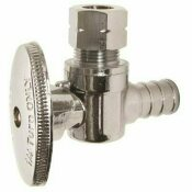 ZURN 1/2 IN. BARB X 3/8 IN. O.D. COMPRESSION PEX BRASS ANGLE STOP VALVE