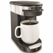 HAMILTON BEACH SINGLE CUP HOSPITALITY COFFEEMAKER WITH 3-MINUTE BREW TIME IN STAINLESS STEEL/BLACK